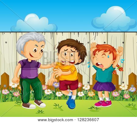 Bully boy picking up on other kids illustration