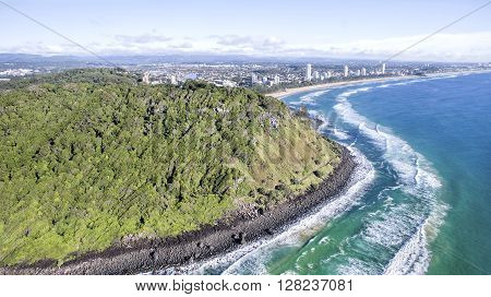 Aerial view of Burleigh Headland National Park, and surrounds. Gold Coast, Australia