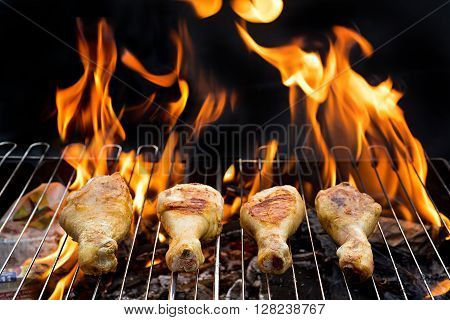 Grill concept. Grilled chicken Legs on the grill. barbecue