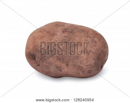 Potato isolated on white background close up with light shadow.