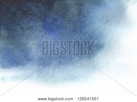 Watercolor blue gray abstract background. Spot similar to the a thundercloud. Illustration made in vector.