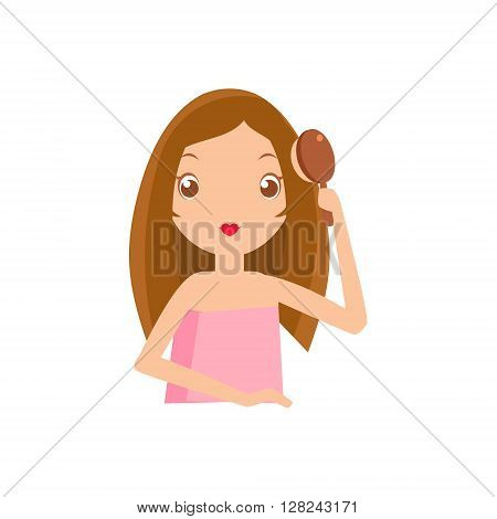 Girl Brushing Her Hair Portrait Flat Cartoon Simple Illustration In Sweet Gitly Style Isolated On White Background