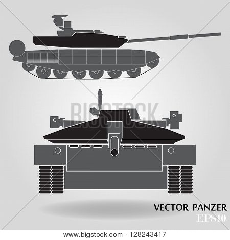 Military panzer isolated on gray background. Vector illustration