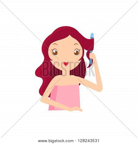 Girl With Fluting Iron Portrait Flat Cartoon Simple Illustration In Sweet Gitly Style Isolated On White Background