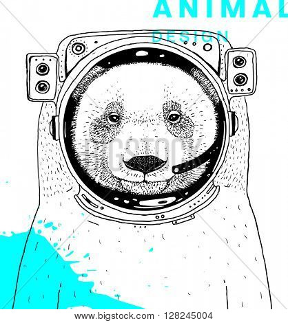 Hand Drawn Bear. Astronaut with Space Suit. Vector Graphic Illustration.