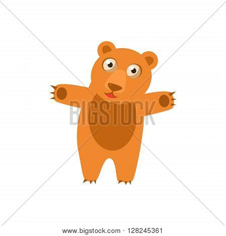 Toy Bear Simplified Cute Illustration In Childish Flat Vector Design Isolated On White Background
