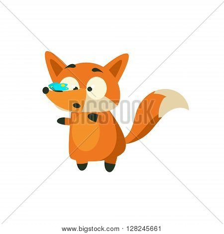 Fox With Butterfly On The Nose Adorable Cartoon Style Flat Vector Illustration Isolated On White Background
