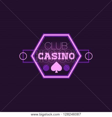 Hexahedron Casino Purple Neon Sign Las Vegas Style Illumination Bright Color Vector Design Sticker