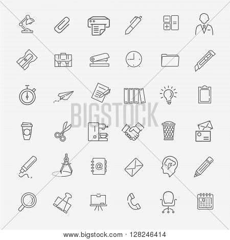 vector line web icon set - Office, management