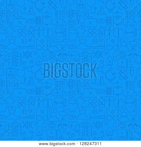 Medical Health Care Blue Seamless Pattern. Vector Medicine Design and Seamless Background in Trendy Modern Line Style. Thin Outline Art