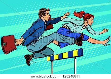 Business competition woman and man running pop art retro style. Running hurdles. Sport and business.