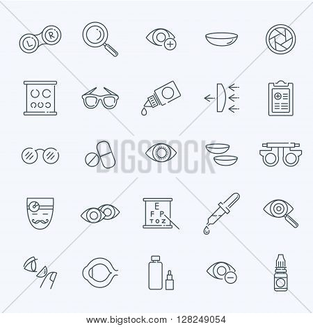 Oculist optometry vision correction eyes health outline icons set isolated vector illustration
