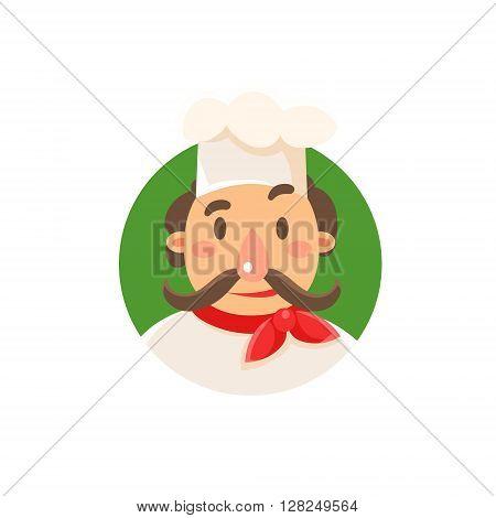 Italian Classical Cook Flat Isolated Primitive Cartoon Style Illustration On White Background