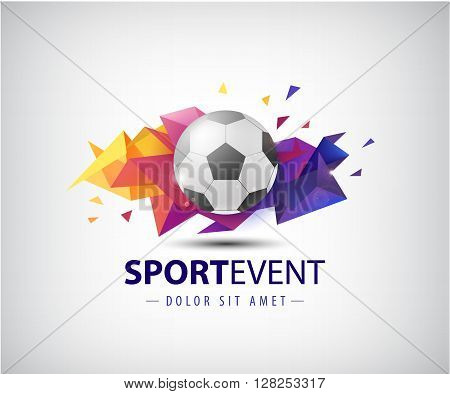 vector logo for football teams and tournaments, championships soccer. isolated. Football ball on colorful faceted origami abstract background. Icon, logo, composition, illustration