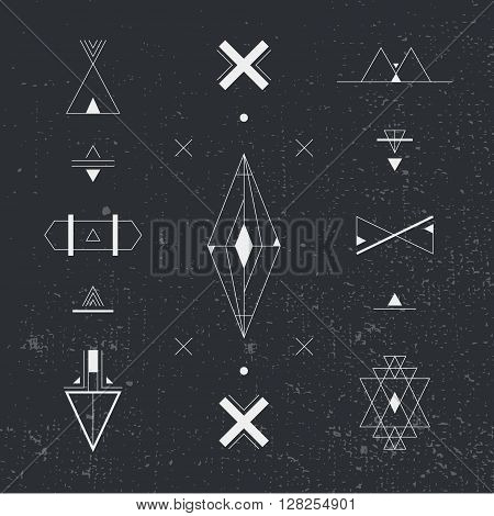 Set of geometric shapes. Trendy hipster background and logotypes. occultism symbols collection. Vector abstract shapes, logos