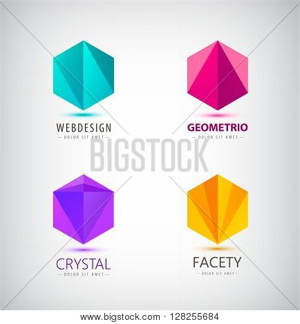Vector set of crystal 3d logos, icons, signs. Idea for company identity. Web logos, origami, faceted logos