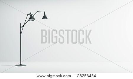 Interior Background With Black Floor Lamp 3D Rendering