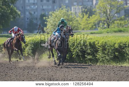 ROSTOV-ON-DON; RUSSIA- MAY 02- Horsemen rides on the racetrack on the opening day on May 02 2016 in Rostov-on-Don