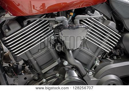 Detail Of Liquid Cooled V-twin Engine Of Motorcycle