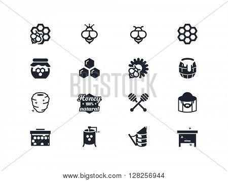 Beekeeping and honey icons. Lyra series