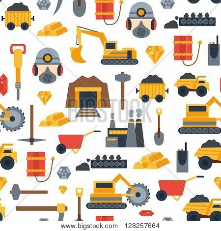 Vector background with mining objects. Cute flat mining seamless background. Industrial equipment metallurgy factory. Coal mining icon. Mineral diamond gold factory. Mining tools illustration