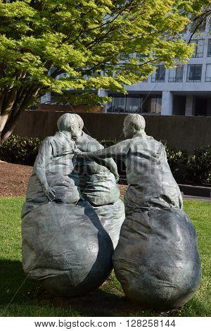 WASHINGTON, DC - APR 16: Last Conversation Piece sculpture by Juan Munoz at the Hirshhorn Sculpture Garden in Washington, DC, on April 16, 2016. In 2013, the Sculpture Garden drew 645,000 visitors.