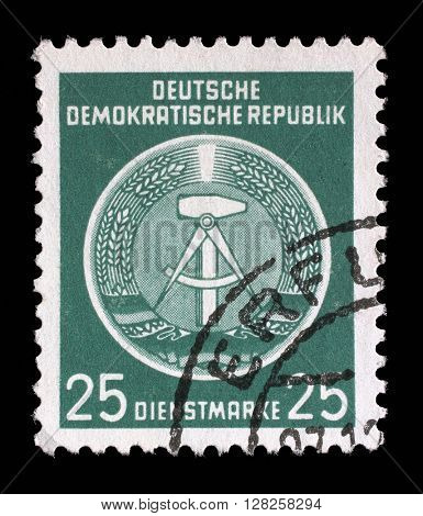 ZAGREB, CROATIA - SEPTEMBER 05: A Stamp printed in East Germany shows DDR national coat of arms with inscription Service Stamp, circa 1952, on September 05, 2014, Zagreb, Croatia