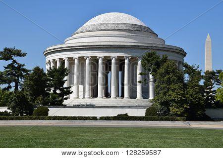 WASHINGTON DC - APR 16: Thomas Jefferson Memorial and Washington Monument in Washington, DC, as seen on April 16, 2016. Washington DC is the capital of USA.
