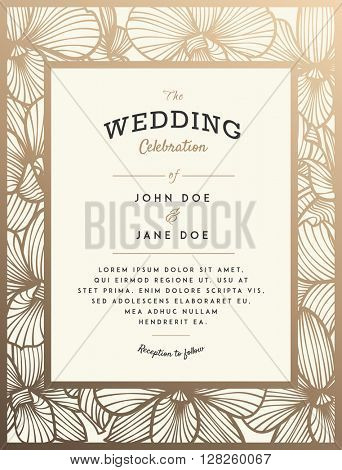 Elegant wedding invitation with orchid flowers