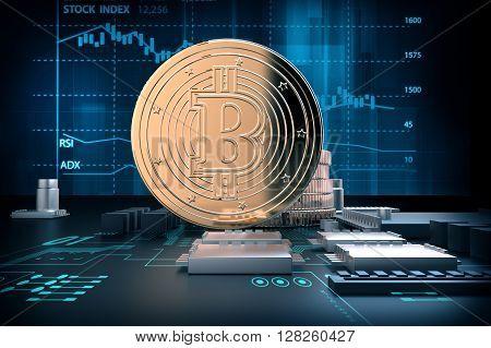3D Illustration Of Golden Bitcoins On Computer Motherboard