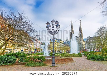BADEN-BADEN, GERMANY - MARCH 19: Historic center of Baden-Baden. Baden-Baden is the most visited resort in Germany. Germany, Baden-Baden, March 19, 2016