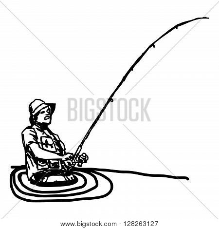 illustration vector hand draw doodles of fisherman with hook in the river isolated on white