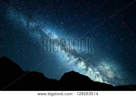 Beautiful Universe, Night Landscape With Milky Way. Starry Sky