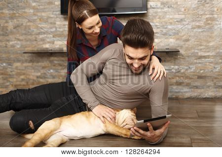 Happy couple with Shar Pei puppy surfing on the internet via digital tablet. Focus on man face.