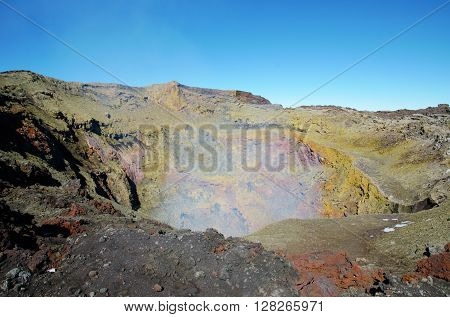 View into the crater of the volcano Villarrica close to Pucón in Chile, South America