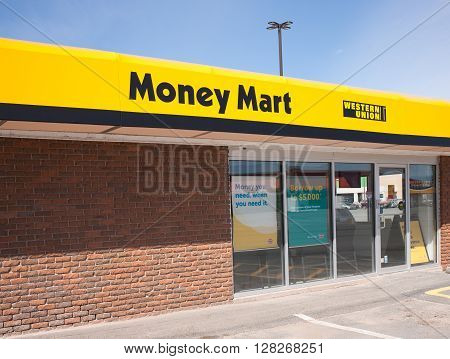 WINDSOR CANADA - MAY 01 2016: Money Mart is a Canadian company supplying various financial services. There are approximatly 412 stores in Canada.
