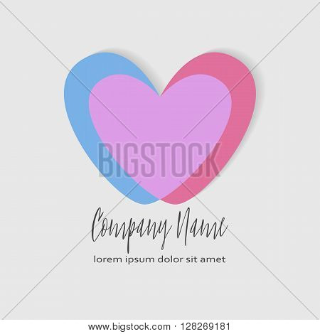 Conceptual Double heart icon. Two crossed hearts. Simple romantic logo. Blue and pink hearts in intersection form the third purple heart. Concept for family, pregnancy, wedding or romantic design.
