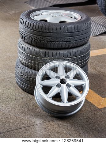 Tires And Alloy At Auto Repair Shop