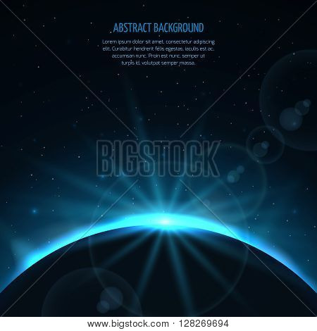 Abstract vector space fantastic background with planet and rising star. Planet and star sun, earth in galaxy sun rising, ray rising sun illustration