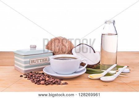 Bulletproof Coffee With Virgin Coconut Oil And Organic Butter