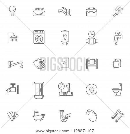 Vector plumbing line icons set. Equipment, bathroom, engineering