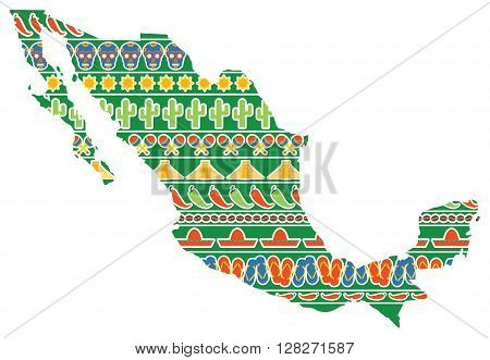 Vector graphic map of Mexico with icons