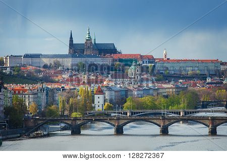 Panoramic view of the Prague castle and Vltava river taken from the Vysehrad castle
