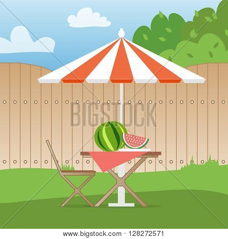 Summer picnic on the backyard. Outdoor recreation. Table with chairsumbrella and watermelon. Vector illustration in flat style and blue background poster