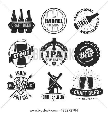 Vector craft beer badges. Set of vintage craft beer emblems and labels.
