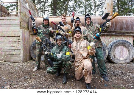 Saint-Petersburg, Russia - April 10, 2016: Paintball student tournament of Bonch Bruevich university in Snaker club. Group photo.