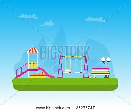 Children's playground with Swings slide sandbox bench teeter board. Kids playground. School Children's park. Buildings for city construction. Kindergarten Vector flat design illustration