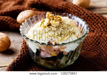 salad with smoked chicken and mayonnaise. selective focus