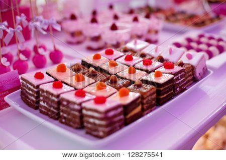 Delicious sweets on candy buffet at a reception