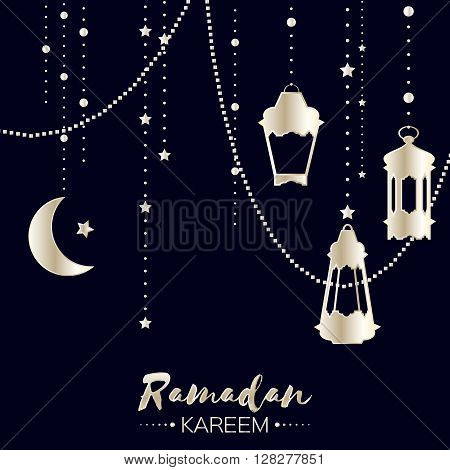 Silver Ramadan Kareem celebration greeting card. Hanging arabic lamps stars and crescent moon. Holy month of muslim. Symbol of Islam. Moon Ramadan. Vector illustration.
